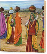 Rajasthani  Women Going Towards A Pond To Fetch Water Wood Print
