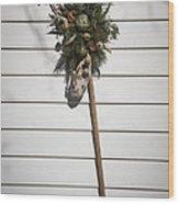 Rake And Wreath Wood Print