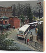 Raleigh Bus Terminal - Evening Wood Print by Paulette B Wright