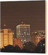 Raleigh Skyline At Night Wood Print