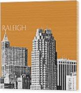 Raleigh Skyline - Dark Orange Wood Print