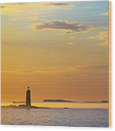 Ram Island Lighthouse Casco Bay Maine Wood Print