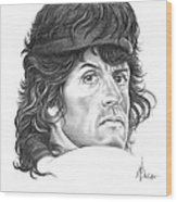 Rambo-sylvester-stallone Wood Print by Murphy Elliott