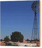 Ranch Windmill Wood Print