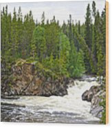 Rancheria Falls Along Alaska Highway In Yk-canada   Wood Print