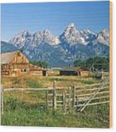 1m9392-ranchland And The Tetons Wood Print
