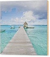 Rangiroa Atoll Pier On The Ocean Wood Print