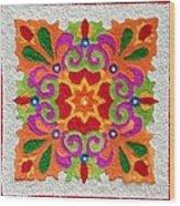 Rangoli Made With Coloured Sand Wood Print