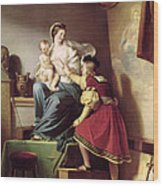 Raphael Adjusting His Model's Pose For His Painting Of The Virgin And Child  Wood Print