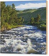 Rapids In Yellowstone Wood Print
