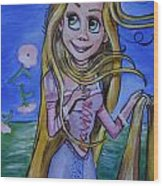 Rapunzel In A Botticelli Style Wood Print