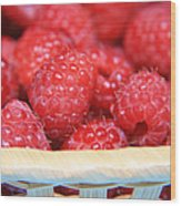 Raspberries In A Basket Wood Print