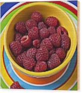 Raspberries In Yellow Bowl On Plate Wood Print