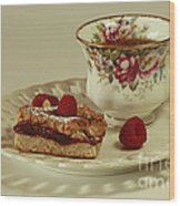 Raspberry Almond Square And Herbal Tea  Wood Print