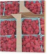 Raspberry Pints In Cardboard Flats Wood Print