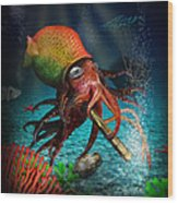 Rasta Squid Wood Print