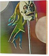 Rat Rod Antenna Skull  Wood Print