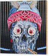 Rat Rod Skull Hood Ornament 2 Wood Print