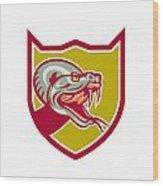 Rattle Snake Head Shield Retro Wood Print