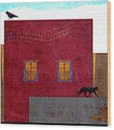 Raven And Cat Wood Print