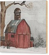 Raven And The Red Barn Wood Print