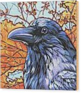 Raven Head Wood Print by Nadi Spencer