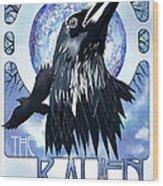 Raven Illustration Wood Print by Sassan Filsoof