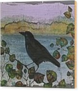 Raven In Colored Leaves Wood Print