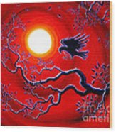 Raven In Ruby Red Wood Print