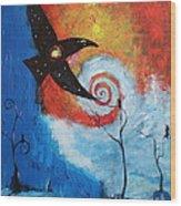 Raven In The Swirl Wood Print