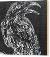 Raven On The Branch - Oil Painting Wood Print
