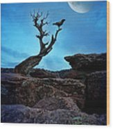 Raven On Twisted Tree With Moon Wood Print