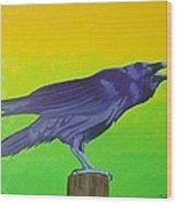 Raven Singing Wood Print