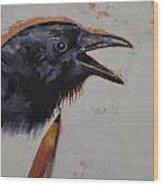Raven Sketch Wood Print