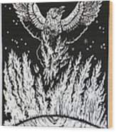 Raven Stealing Fire From The Sun - Woodcut Illustration For Corvidae Wood Print