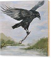 Raven Stealing Time Wood Print