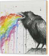 Raven Tastes The Rainbow Wood Print