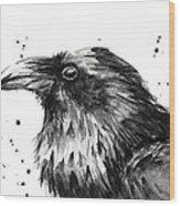 Raven Watercolor Portrait Wood Print