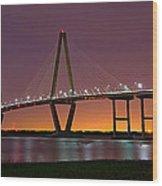 Ravenel Bridge At Night Wood Print