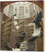 Ravens In The Library Wood Print by Rob Carlos