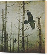 Ravens Of The Mist Artistic Expression Wood Print