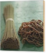 Raw And Cooked Pasta Wood Print