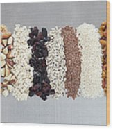 Raw Nuts, Dried Fruit And Grains Wood Print