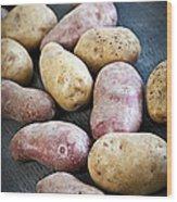 Raw Potatoes Wood Print