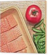 Raw Salmon Wood Print by Tom Gowanlock