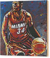 Ray Allen Wood Print by Maria Arango