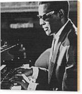 Ray Charles At The Piano Wood Print