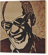 Ray Charles Original Coffee Painting Wood Print