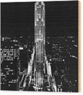 Rca Building At Night In Nyc Wood Print