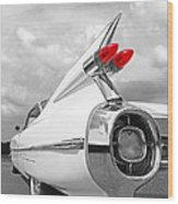 Reach For The Skies - 1959 Cadillac Tail Fins Black And White Wood Print
